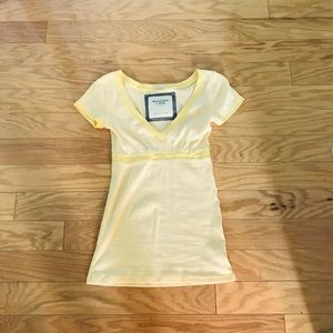 NWOT Abercrombie A&F Yellow Striped V-neck Tee XS